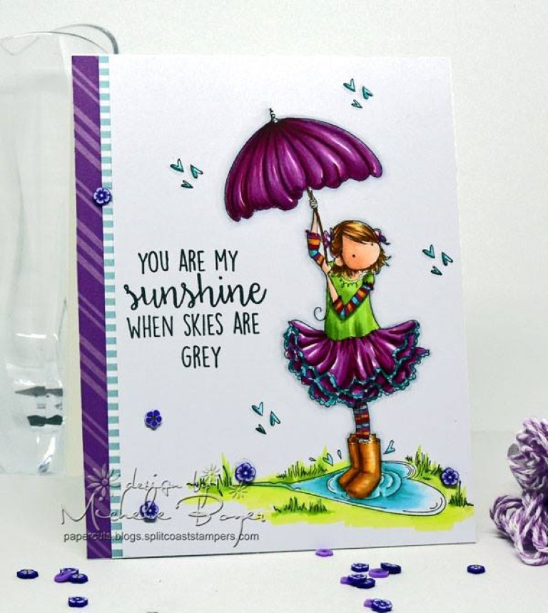 Bellarific Friday April 28 2017 PHOTO INSPIRATION CHALLENGE- Rubber stamps used: Tiny Townie Rachel loves the rain card by Michele Boyer