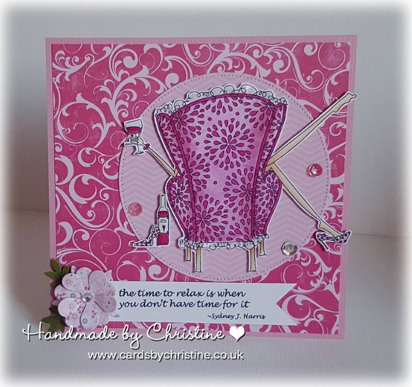 Bellarific Friday with Stamping Bella- rubber stamp used: UPTOWN GIRL REILLY loves to relax, card made by Christine Levison