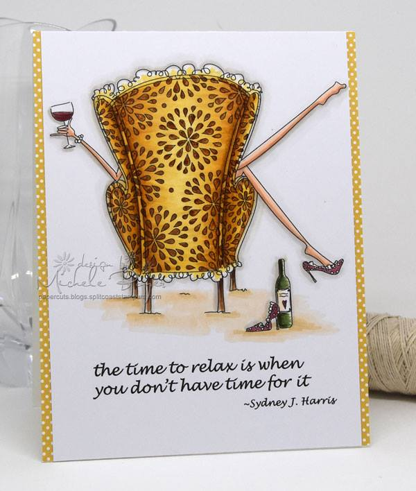 Bellarific Friday with Stamping Bella- rubber stamp used: UPTOWN GIRL REILLY loves to relax, card made by Michele Boyer