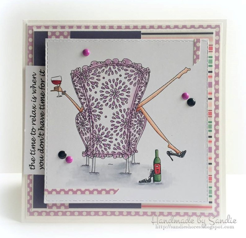 Bellarific Friday with Stamping Bella- rubber stamp used: UPTOWN GIRL REILLY loves to relax, card made by Sandie Dunne