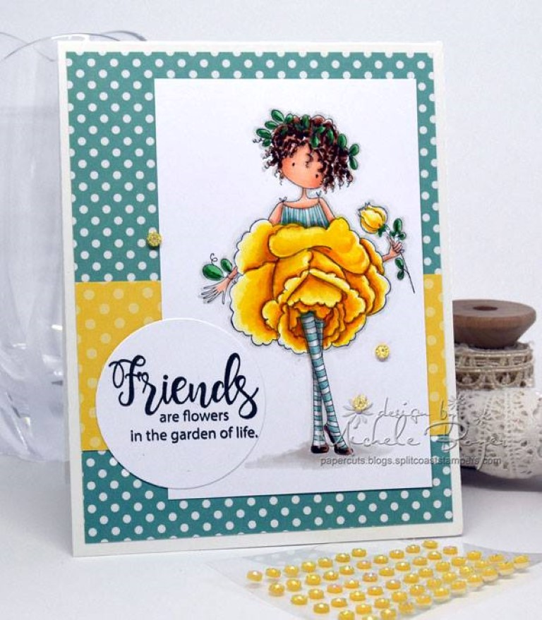 Bellarific Friday with Stamping Bella - rubber stamp uised: Tiny Townie Garden Girl Rose card by Michele Boyer