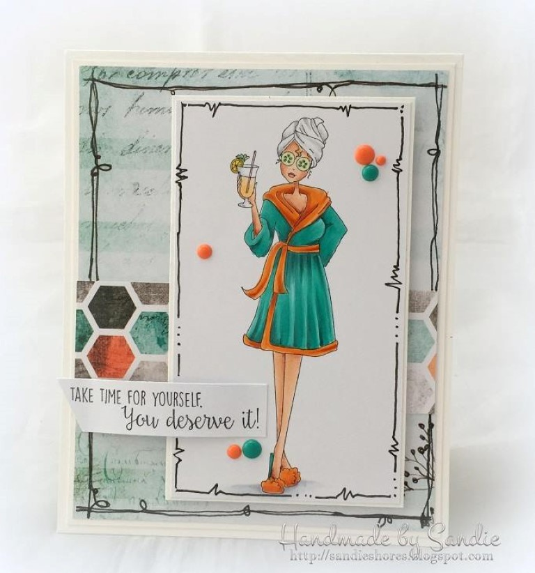 Bellarific Friday with Stamping Bella - rubber stamp uised: SPABELLA card by SANDIE DUNNE