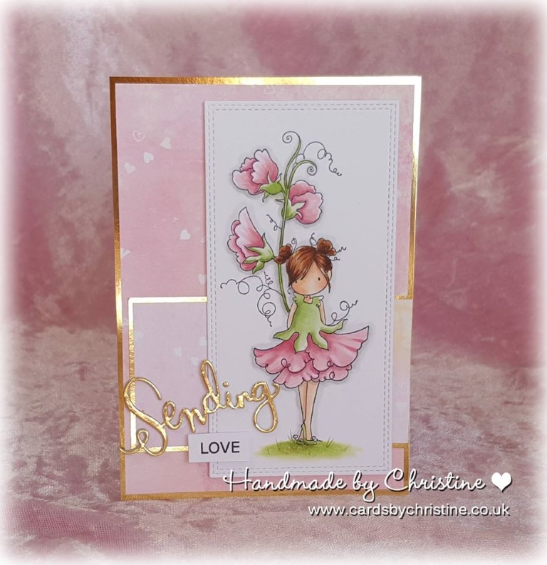 Bellarific Friday with Stamping Bella - rubber stamp uised: TINY TOWNIE GARDEN GIRL SWEETPEA card by Christine Levison
