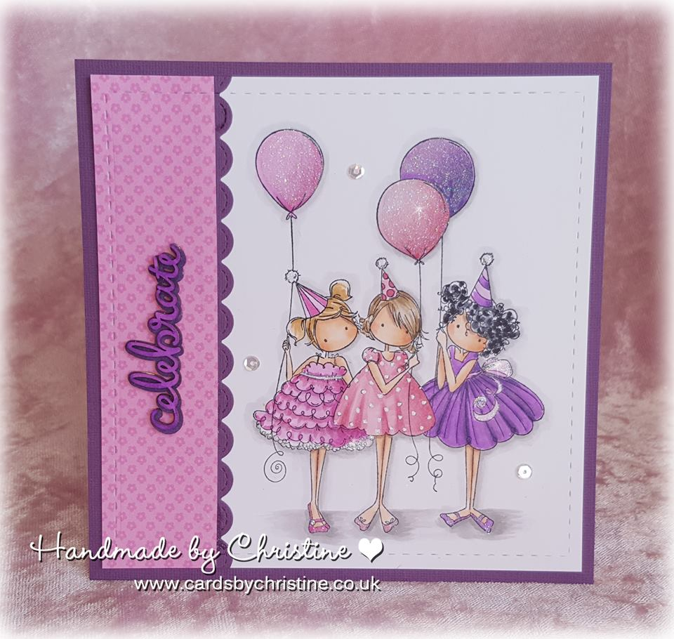 Bellarific Friday with Stamping Bella April 17 2017. RUBBER STAMP USED: TINY TOWNIE BIRTHDAY PARTY. Card made by Christine Levison