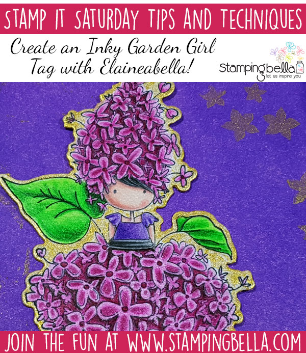 Stamp It Saturday: Create an Inky Garden Girl Tag with Elaineabella