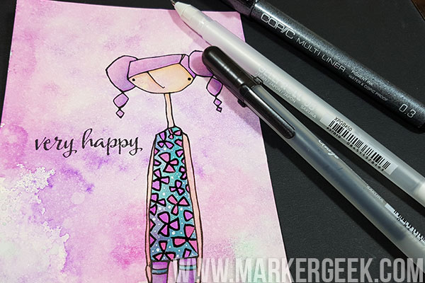 Stamping Bella Marker Geek Monday Copic Colouring over Distress Ink Backgrounds