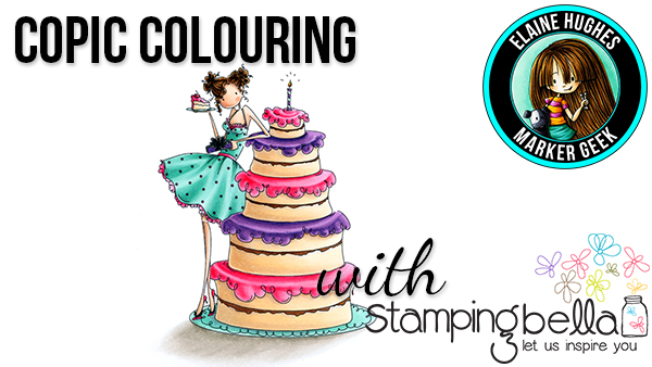Marker Geek Monday - Copic Colouring Uptown Girl Bianca has a Big Cake