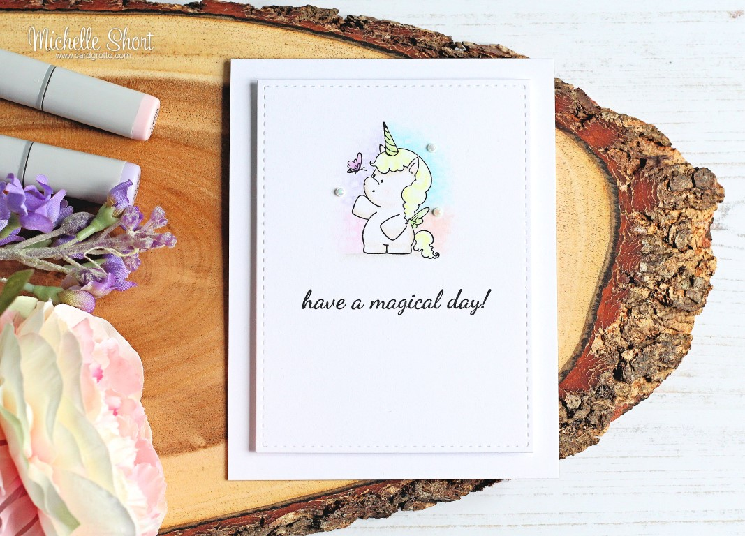 Wonderful wednesdays with STAMPING BELLA- rubber stamp used SET OF UNICORNS card by Michelle Short