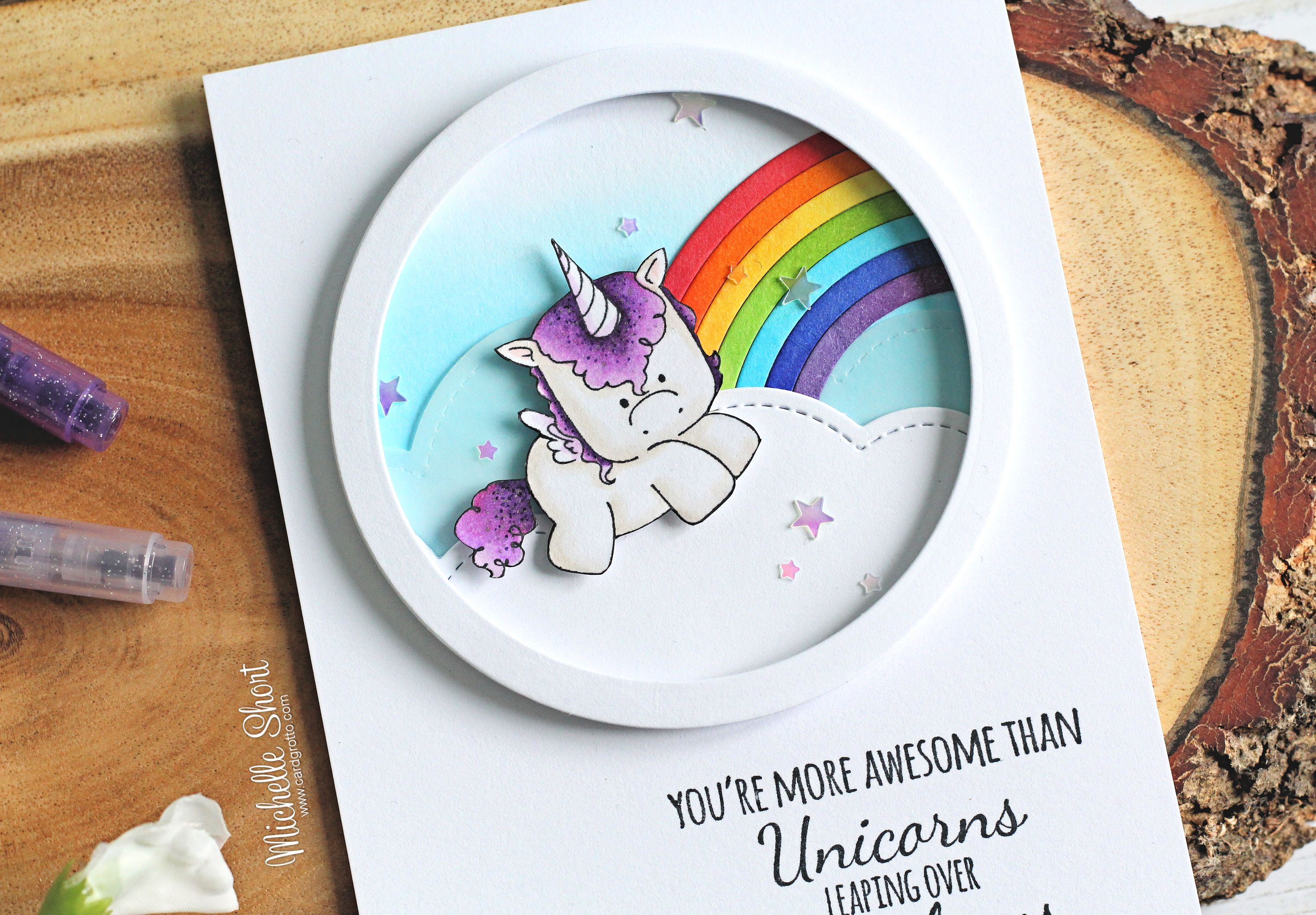 Wonderful Wednesdays with STAMPING BELLA-  Rubber stamps used: Unicorn set and Unicorn sentiment set Card by Michelle Short
