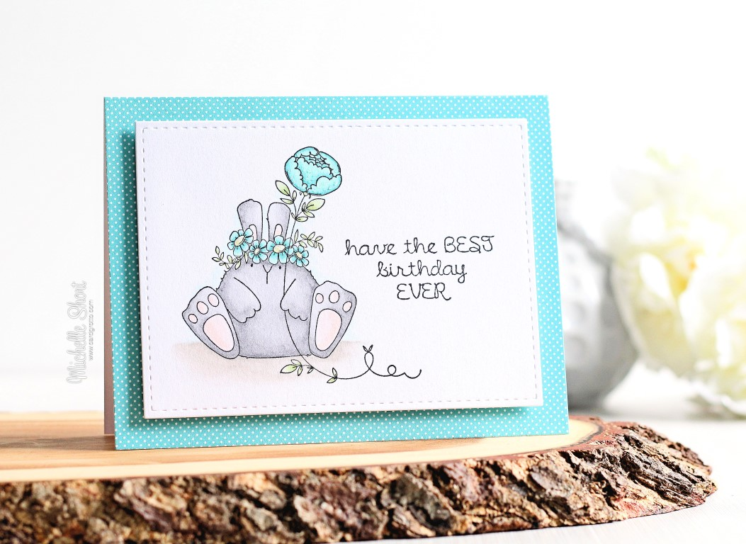 wonderful wednesdays with Stamping Bella -rubber stamp used THE BUNNY WOBBLE and the PEONY card by MICHELLE SHORT