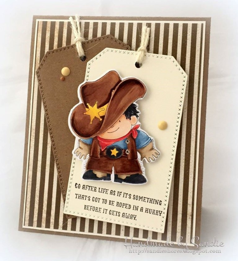 It's BELLARIFIC FRIDAY May 19th 2017-rubber stamp used COWBOY SQUIDGY, card made by SANDIE DUNNE