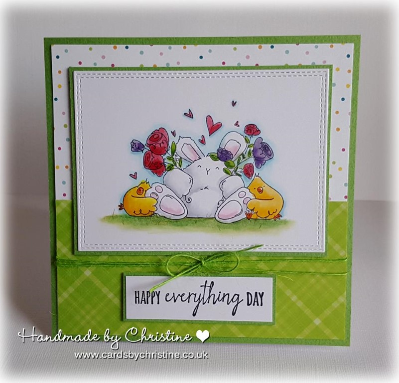 Bellarific Friday May 12 2017 MOJOBELLA SKETCH- rubber stamp used: HAPPY EVERYTHING BUNNY WOBBLE. Card by Christine Levison