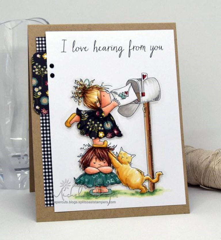 It's BELLARIFIC FRIDAY May 19th 2017-rubber stamp used SNAIL MAIL SQUIDGIES, card made by MICHELE BOYER