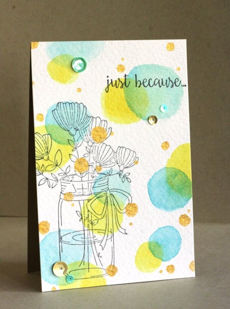 Bellarific Friday with Stamping Bella May 5th 2017- stamp used- MASON JAR OF FLOWERS card by ALICE WERTZ