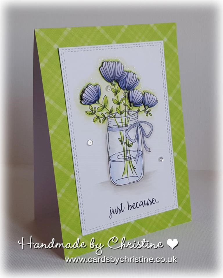 Bellarific Friday with Stamping Bella May 5th 2017- stamp used- MASON JAR OF FLOWERS card by Christine Levison