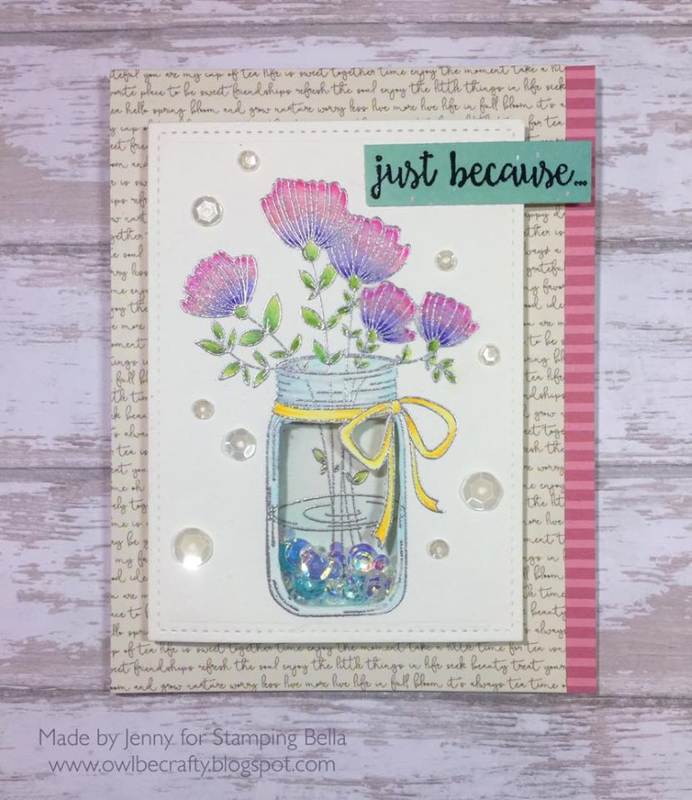 Bellarific Friday with Stamping Bella May 5th 2017- stamp used- MASON JAR OF FLOWERS card by Jenny Bordeaux