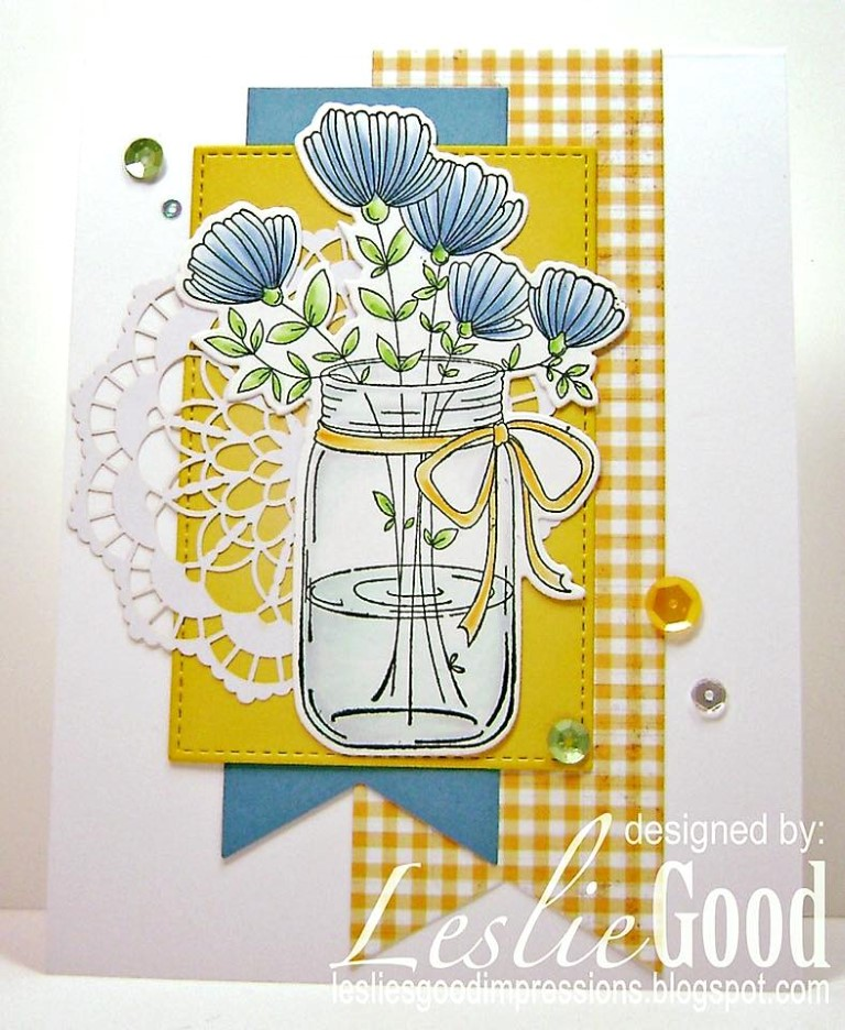 Bellarific Friday with Stamping Bella May 5th 2017- stamp used- MASON JAR OF FLOWERS card by Leslie Good