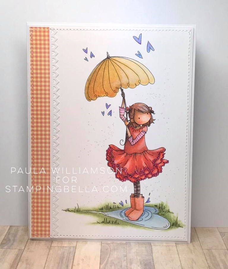 "Bellarific Friday May 25th 2017- PHOTO CHALLENGE- Rubber stamp used : ""TINY TOWNIE RACHEL loves the RAIN"" card made by Paula Williamson"