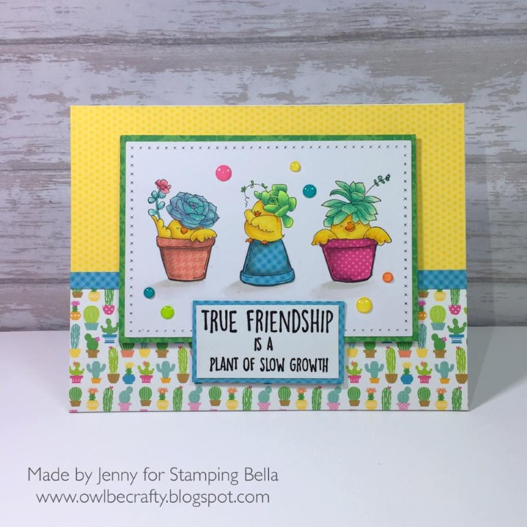 Bellarific Friday May 12 2017 MOJOBELLA SKETCH- rubber stamp used: SUCCULENT CHICKS. Card by JENNY BORDEAUX