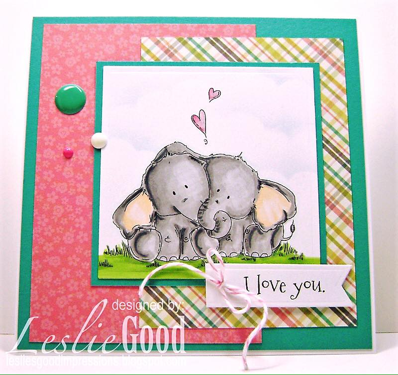 Bellarific Friday with Stamping Bella!- Rubber stamp used: ELLIE LOVES PHANT.  card by Leslie Good