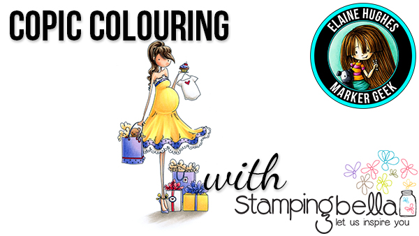 Stamping Bella - Marker Geek Monday - Copic Colouring Uptown Girl Brynn has a Baby Shower incl. video