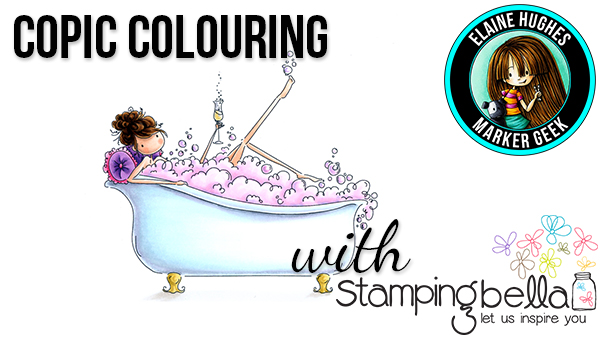 Stamping Bella Marker Geek Monday Copic Colouring Uptown Girl Bubbles loves her Bubbly (with video)