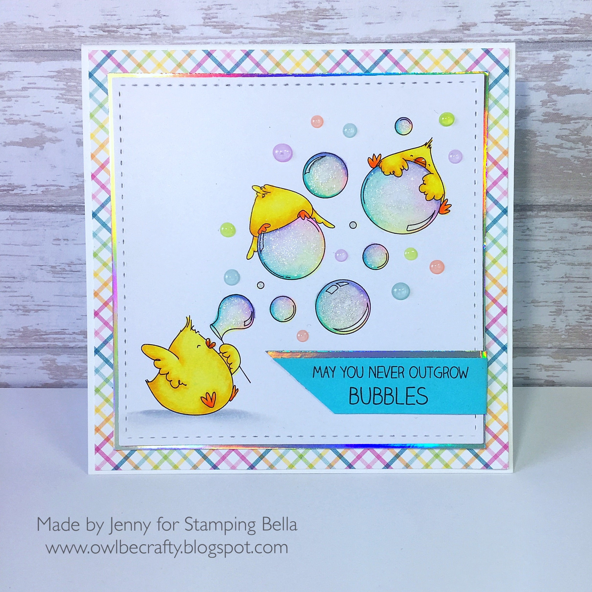 Stamping Bella SUMMER 2017 RELEASE: BUBBLE CHICKS rubber stamps. Card by Jenny Bordeaux