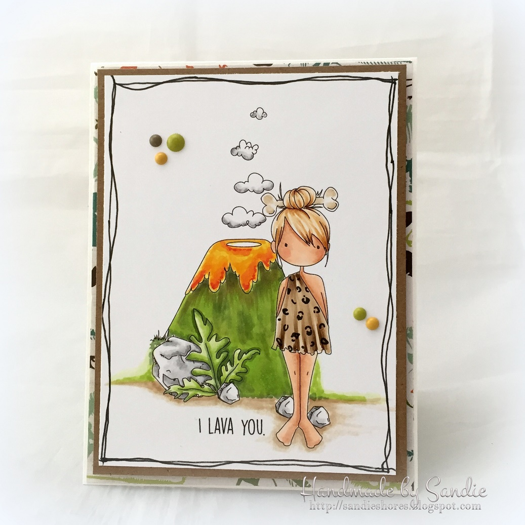 Stamping Bella SUMMER 2017 RELEASE-CAVE KIDS, CAVE KIDS ADD ONS rubber stamps. Card by Sandie Dunne