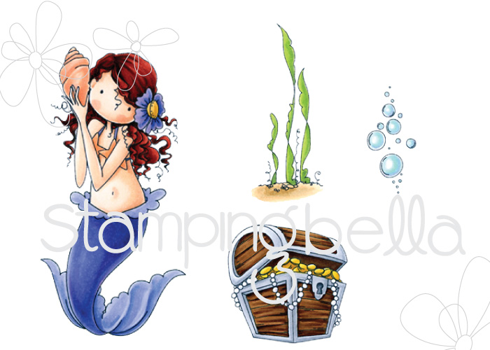 Stamping Bella SUMMER 2017 RELEASE- TINY TOWNIE MERMAID SET RUBBER STAMPS