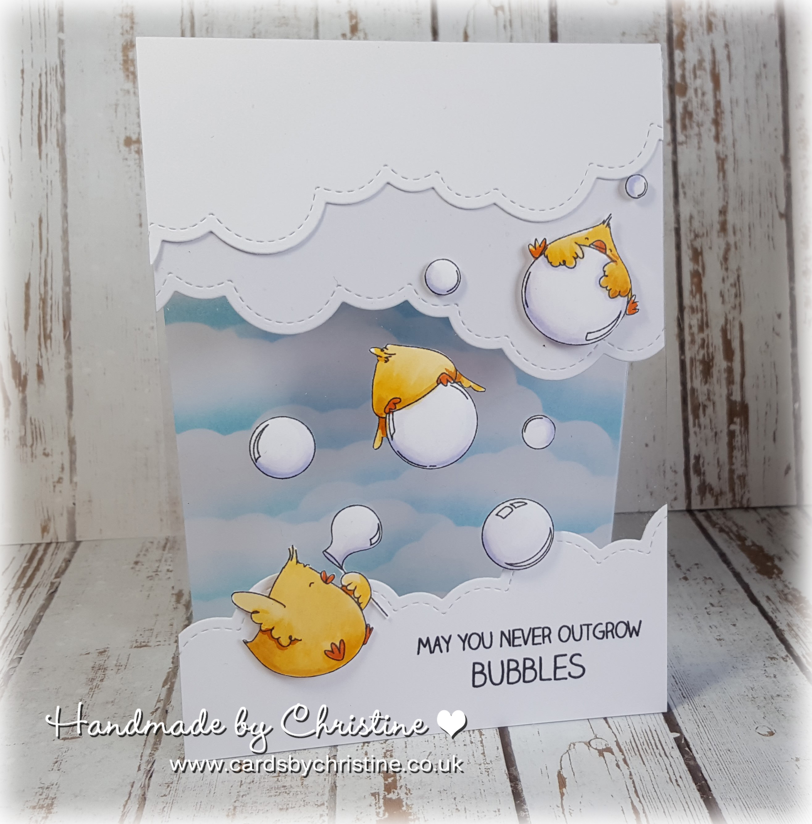 Stamping Bella SUMMER 2017 RELEASE: BUBBLE CHICKS rubber stamps. Card by Christine Levison