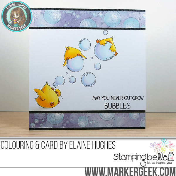 Stamping Bella SUMMER 2017 RELEASE: BUBBLE CHICKS rubber stamps. Card by Elaine Hughes