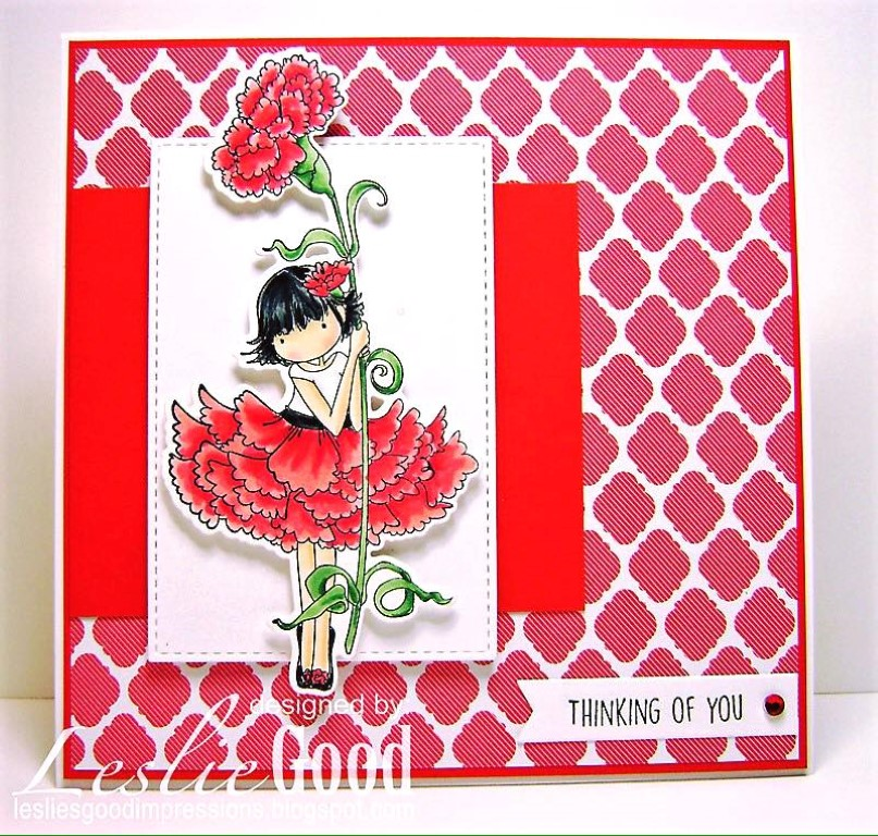 bellarific friday with Stamping Bella- rubber stamp used: TINY TOWNIE GARDEN GIRL CARNATION, card made by Leslie Good