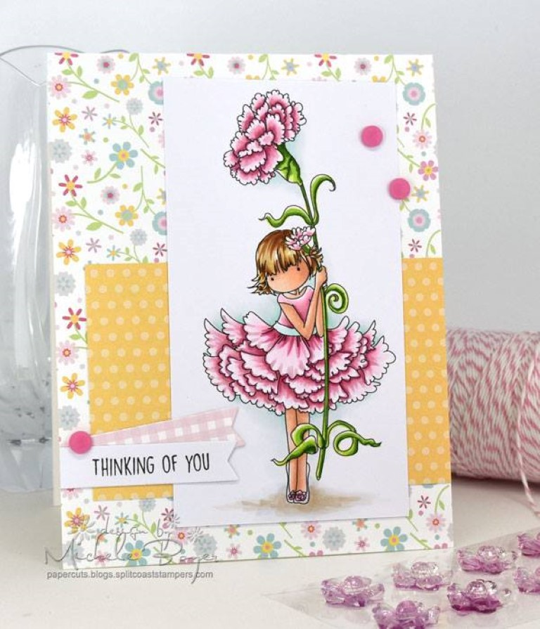 bellarific friday with Stamping Bella- rubber stamp used: TINY TOWNIE GARDEN GIRL CARNATION, card made by Michele Boyer