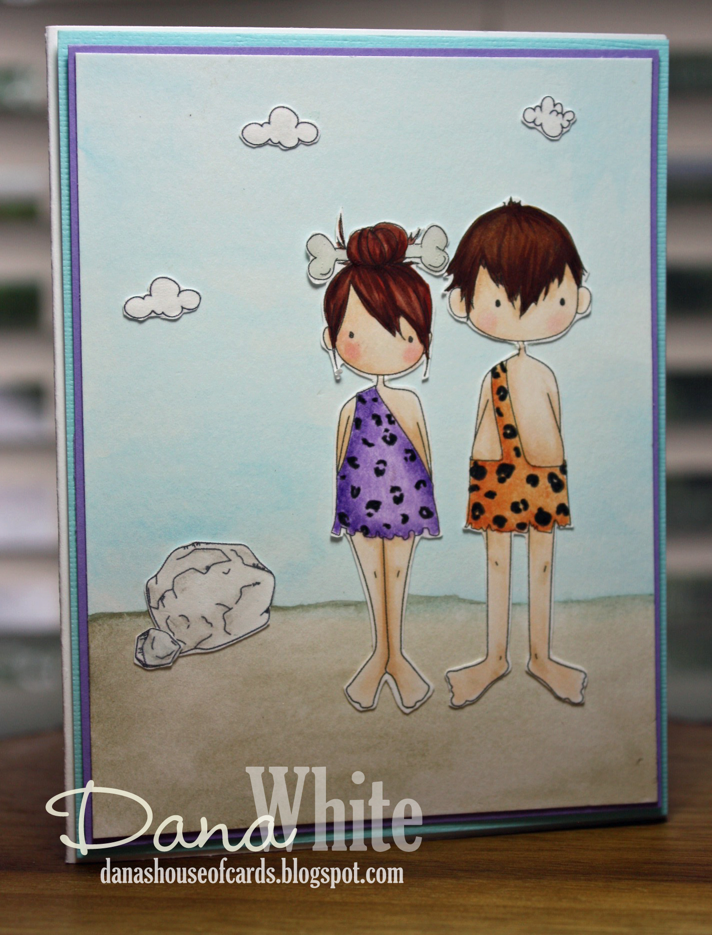 Stamping Bella SUMMER 2017 RELEASE-CAVE KIDS, CAVE KIDSADD ONS rubber stamps. Card by DANA WHITE