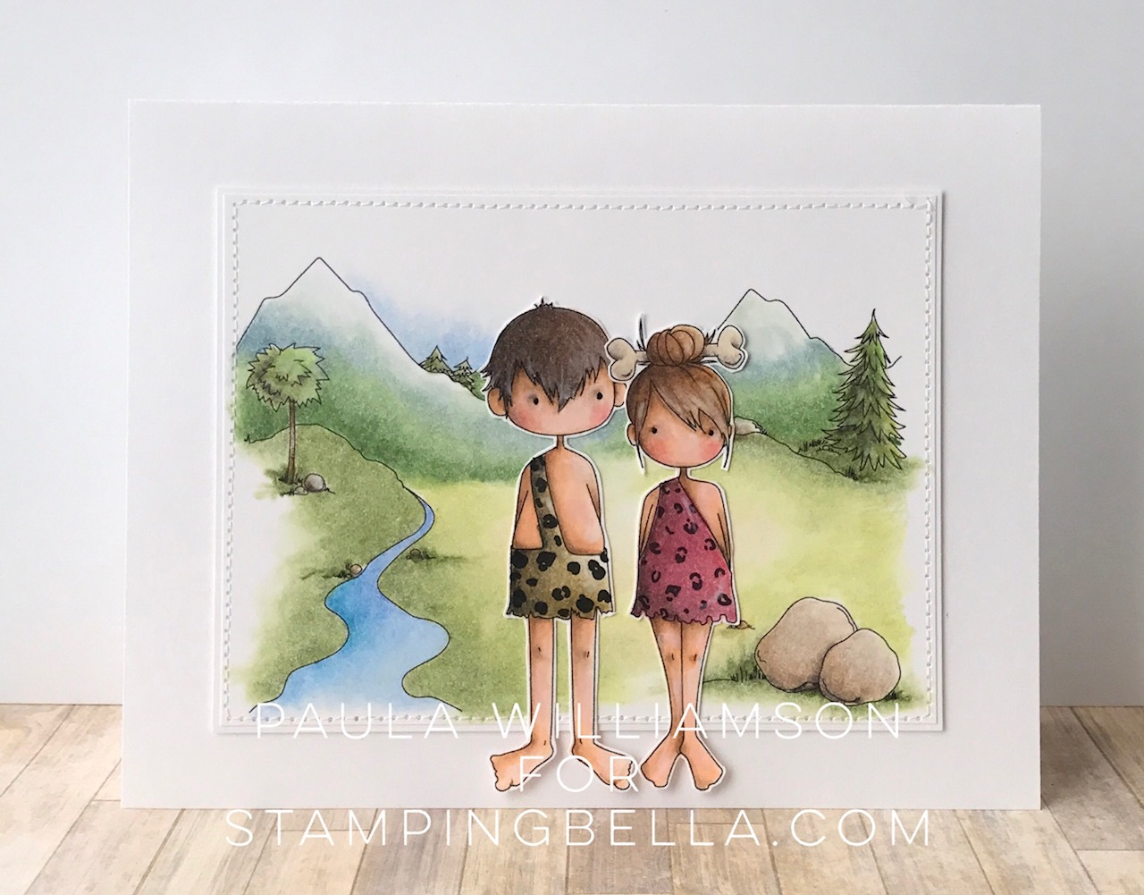 Stamping Bella SUMMER 2017 RELEASE-CAVE KIDS, CAVE KIDS BACKDROP rubber stamps. Card by Paula Williamson