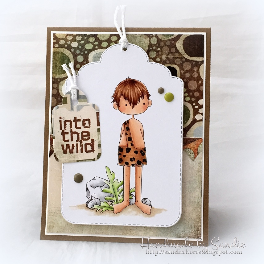 Stamping Bella SUMMER 2017 RELEASE-CAVE KIDS, rubber stamps. Card by Sandie Dunne