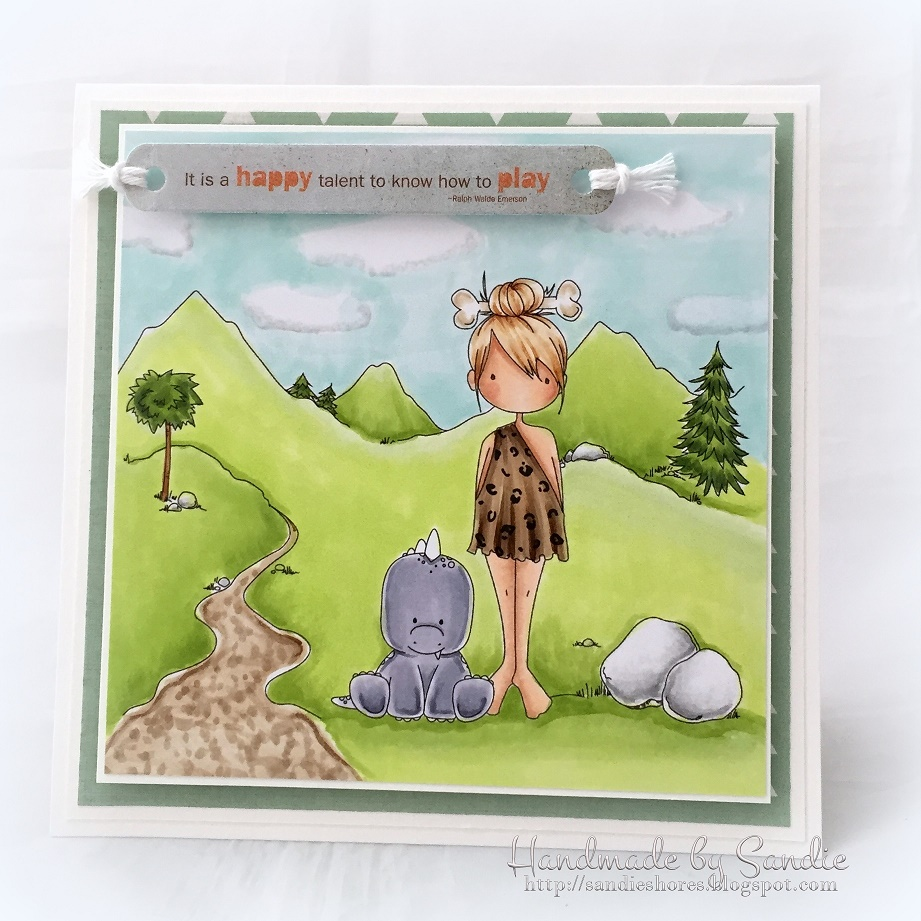 Stamping Bella SUMMER 2017 RELEASE-CAVE KIDS, CAVE KIDS BACKDROP, SET OF DINOSAURS rubber stamps. Card by Sandie Dunne