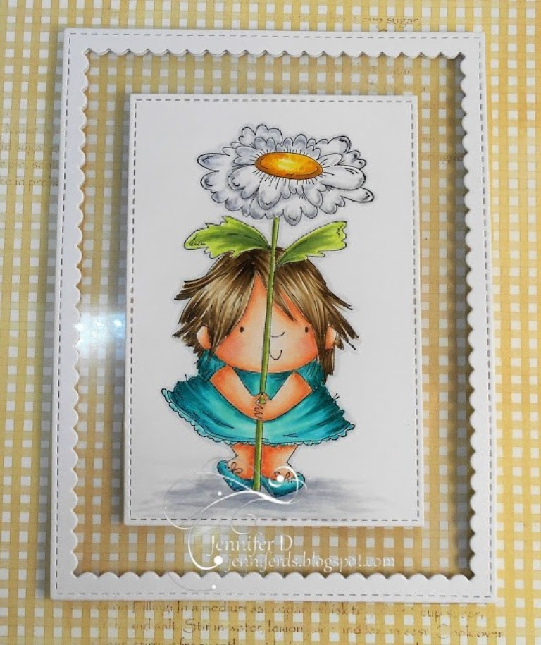 It's WONDERFUL WEDNESDAYS WITH STAMPING BELLA- Rubber stamp used: DAISY SQUIDGY, shaker card made by Jenny Dix