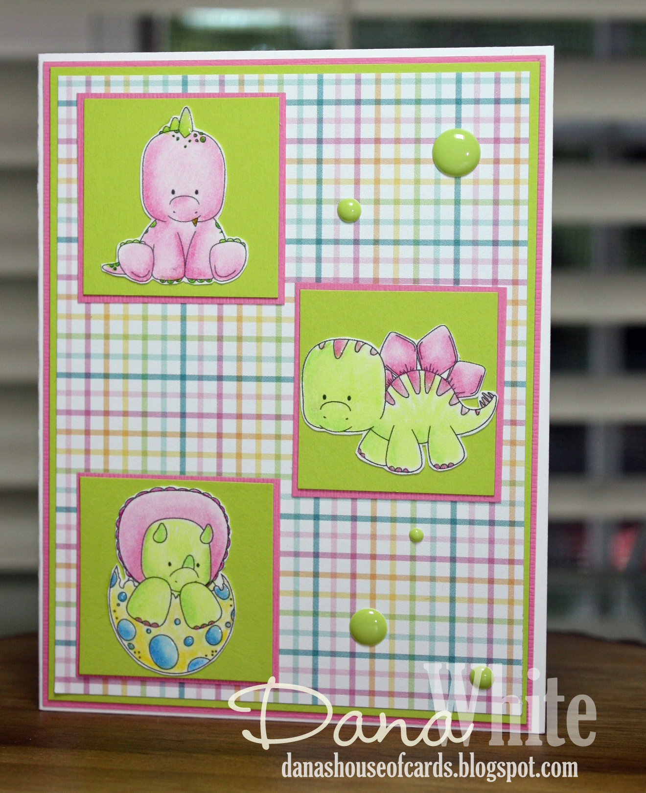 Stamping Bella SUMMER 2017 RELEASE-, SET OF DINOSAURS rubber stamps. Card by Dana White