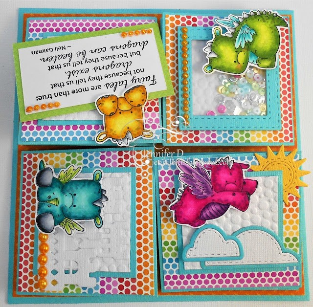 Wonderful Wednesdays with STAMPING BELLA- -QUAD EASEL card using our SET OF DRAGONS rubber stamps, Dragon Sentiments and Unicorn Sentiments.. card by Jenny Dix