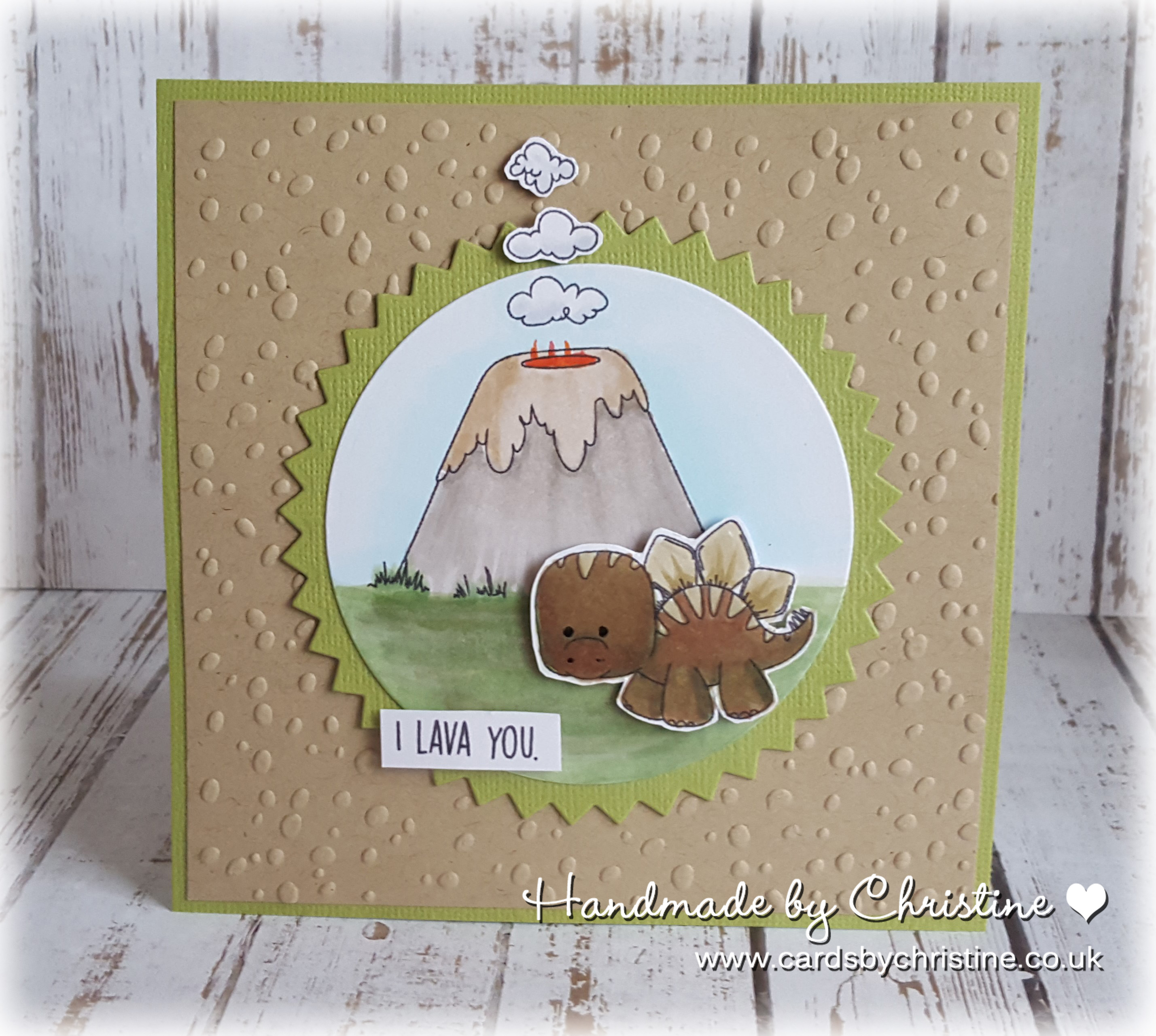 Stamping Bella SUMMER 2017 RELEASE-CAVE KIDS ADD ONS,, SET OF DINOSAURS rubber stamps. Card by Christine Levison