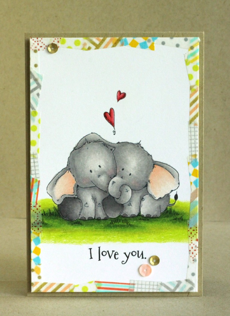 Bellarific Friday with Stamping Bella - Stamp used ELLIE LOVES PHANT. Card made by Alice Wertz