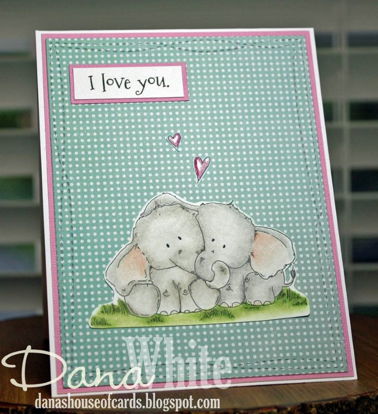 Bellarific Friday with Stamping Bella - Stamp used ELLIE LOVES PHANT. Card made by Dana White