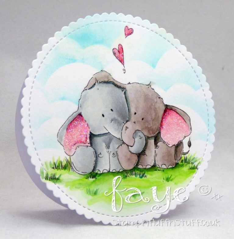 Bellarific Friday with Stamping Bella - Stamp used ELLIE LOVES PHANT. Card made by Faye Wynn Jones