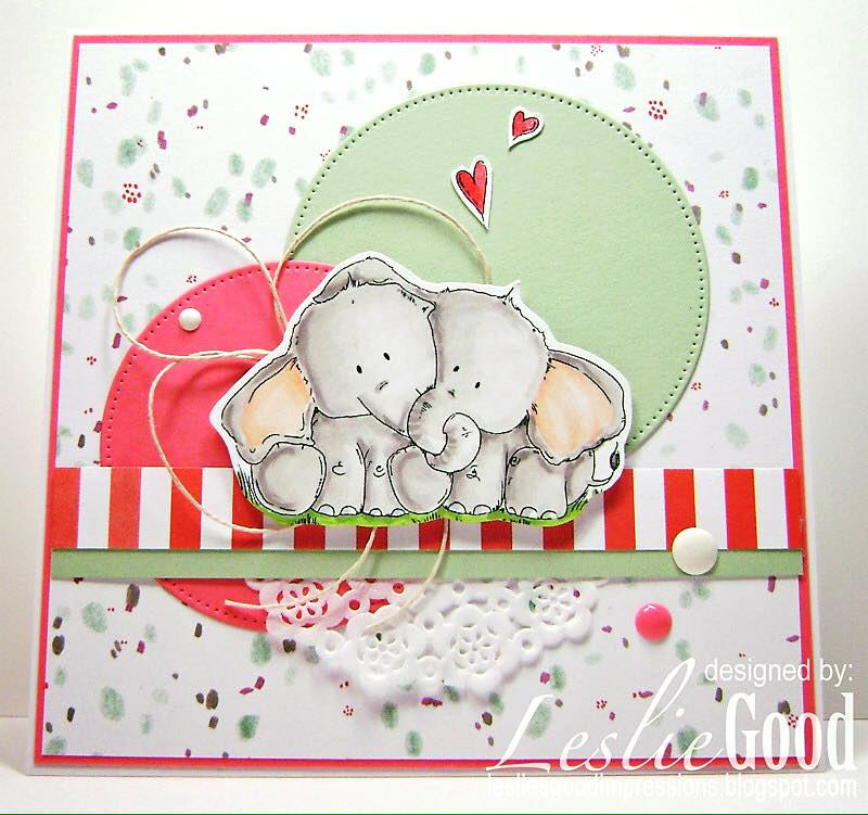 Bellarific Friday with Stamping Bella - Stamp used ELLIE LOVES PHANT. Card made by Leslie Good