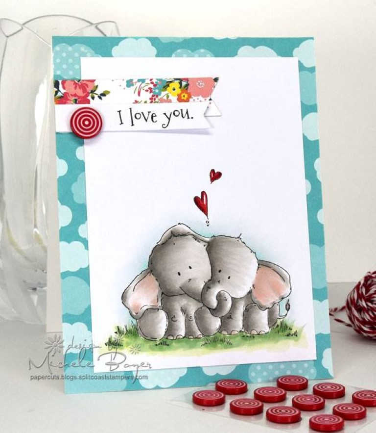 Bellarific Friday with Stamping Bella - Stamp used ELLIE LOVES PHANT. Card made by Michele Boyer