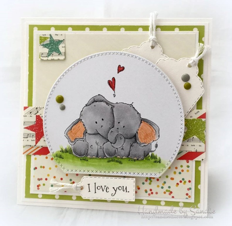 Bellarific Friday with Stamping Bella - Stamp used ELLIE LOVES PHANT. Card made by Sandie Dunne