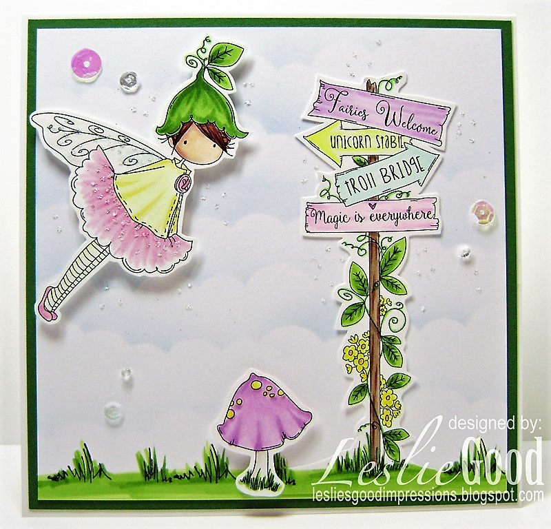 Stamping Bella SUMMER 2017 RELEASE- RUBBER STAMP : TINY TOWNIE fairy garden fairy and fairy signT. Card by Leslie Good