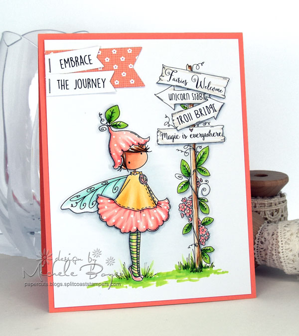 Stamping Bella SUMMER 2017 RELEASE- RUBBER STAMP : TINY TOWNIE fairy garden fairy and fairy signT. Card by Michele Boyer