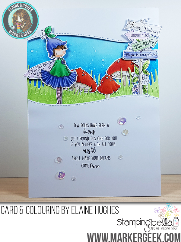 Stamping Bella SUMMER 2017 RELEASE- RUBBER STAMP : TINY TOWNIE fairy garden fairyand Fairy Garden SIGN Card by Elaine Hughes